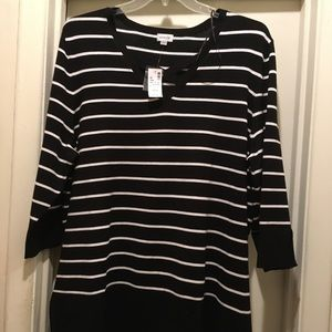 NWT Lite weight black and white striped sweater